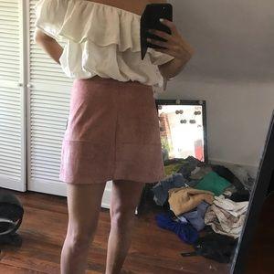 Lulu's pink suede skirt NWT